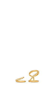 RACHEL ZOE Quills Rings in Gold & Crystal