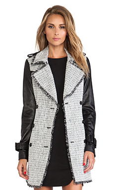 RACHEL ZOE Christopher Tweed Trench Coat in Black & Winter White