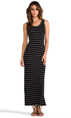 Saint Grace Moby Stripe Low Back Tank Maxi in Black/White