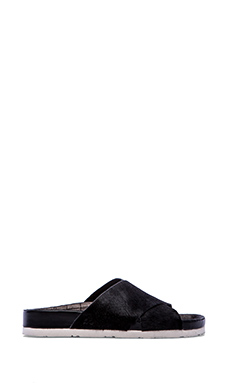 Sam Edelman Adora Sandal with Calf Fur in Black Brahma