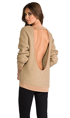 Sanctuary Cut Back Sweater in Bark Wood