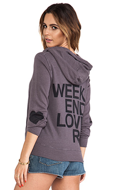 SUNDRY Weekend Lovers Zipper Hoodie in Sunset Grey