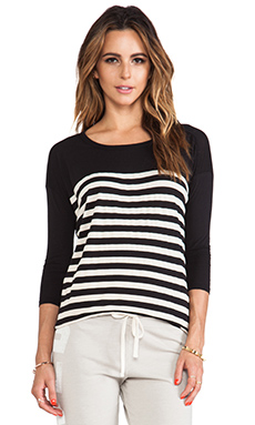 SUNDRY Stripes 3/4 Sleeve Tunic in Black