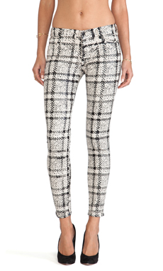 7 For All Mankind The Cropped Skinny in Black Plaid