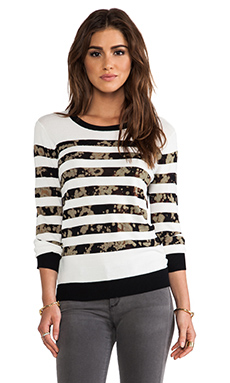 SHAE Stripe Pullover in Black Stripe