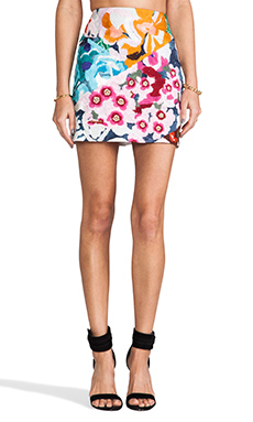 Shakuhachi Flower Bomb Embroidered Mini Skirt in Floral Splice
