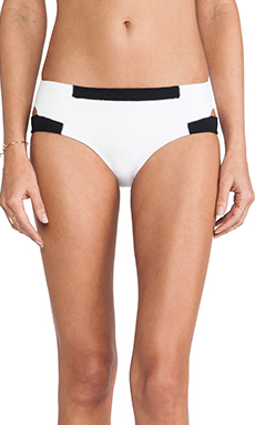 Shakuhachi Neoprene Cut Out Bikini Bottom in White & Black