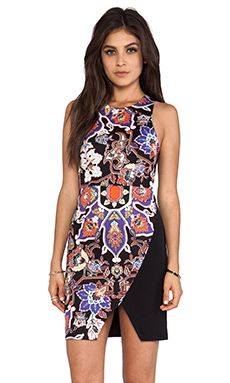 Shona Joy Surface interest Spliced Mini Dress in Multi