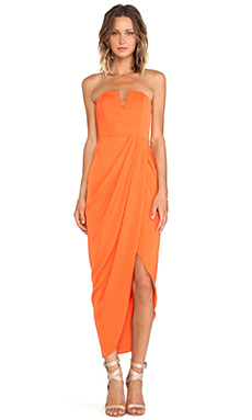 Shona Joy Bauhaus Draped Bustier Dress in Tangerine