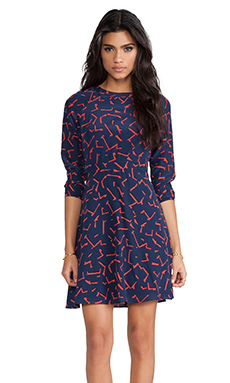 Shoshanna Pritzker Print Carla Dress in Modern Red/Midnight