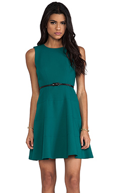 Shoshanna Double Crepe Joan Dress in Juniper