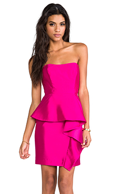 Shoshanna Silk Gazar Melania Dress in Fuschia