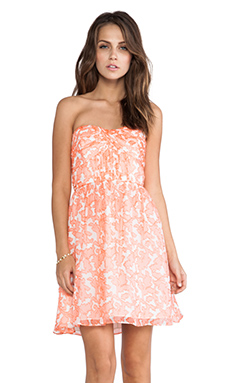 Shoshanna Coral Reef Chiffon Strapless Dress in Coral Multi