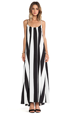 Show Me Your Mumu Trapeze Maxi Dress in Black/White Stripe