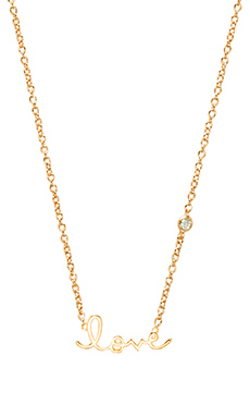 Shy by Sydney Evan Love Necklace with Diamond Bezel in Yellow Gold