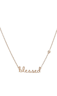 Shy by Sydney Evan Blessed Necklace with Diamond Bezel in Yellow Gold