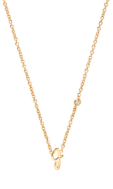 Shy by Sydney Evan J Necklace with Diamond Bezel in Yellow Gold