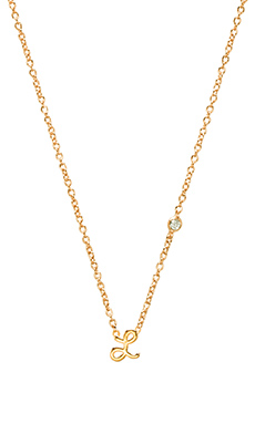 Shy by Sydney Evan L Necklace with Diamond Bezel in Yellow Gold