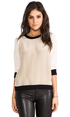 SJOBECK Lombard Silk Sweatshirt in Cream/Black