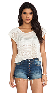 Somedays Lovin Dimensions Lace Tee in Bone