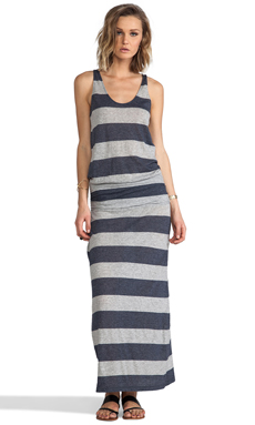 Soft Joie Wilcox Stripe Dress in Heather Grey/Peacoat