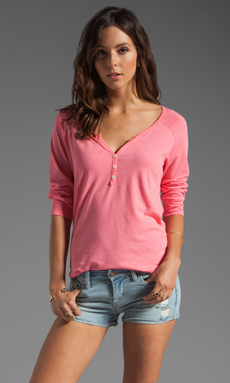 Soft Joie Selby Linen Henley Top in Watermelon