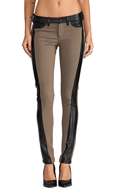 SOLD Design Lab Soho Super Skinny in Taupe with Black Leather Insets