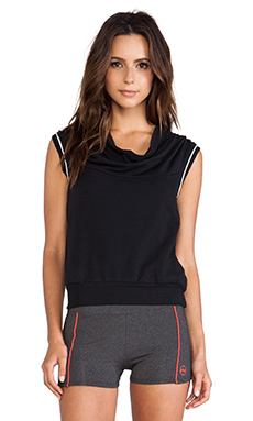 So Low Sleeveless Draped Hoodie in Black & White
