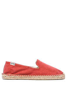 Soludos Smoking Slipper Twill en Rouge Nantucket