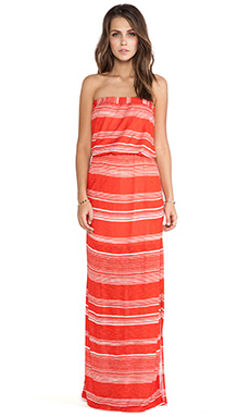 Splendid Safari Stripe Strapless Maxi Dress in Paprika