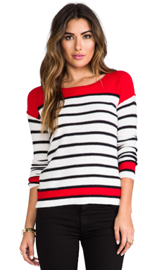 Splendid Pop Stripe Sweater in White/Red