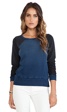 Splendid Indigo French Terry Pullover in Vintage Dark Wash