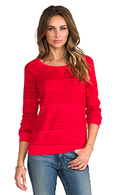 Splendid Fair Isle Sweatshirt in Vermillion