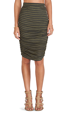 Splendid New Haven Stripe Skirt in Hunter