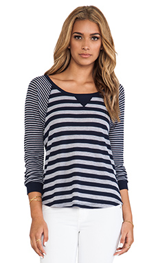 Splendid Heather Grey Stripe Mix Thermal Long Sleeve in Navy