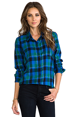 Splendid Juniper Flannel Button Down in Cobalt