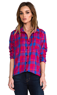 Splendid Juniper Flannel Button Down in Vermillion