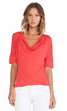 Splendid Slub Jersey S/S Top in Carmine