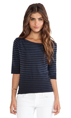 Splendid Indigo 3/4 Sleeve Stripe Top