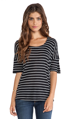 Splendid New Haven Stripe Top in Black