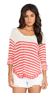 Surf Gypsy Stripe Crochet Sweater in Ivory & Coral