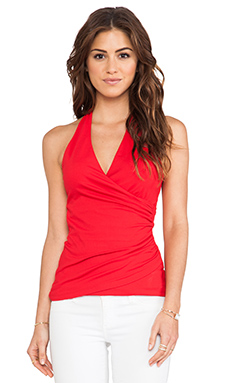 Susana Monaco Wrap Halter Top in Perfect Red