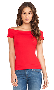Susana Monaco Off the Shoulder Top in Perfect Red