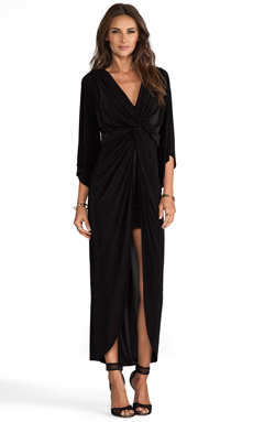 T-Bags LosAngeles Long Sleeve Knot Hi Low Dress in Black