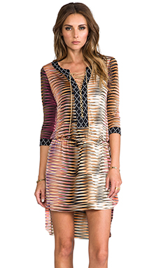 T-Bags LosAngeles Tie Front Mini Dress in Coral Zig Zag