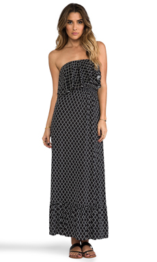 T-Bags LosAngeles Diamond Print Strapless Maxi Dress in Black & White