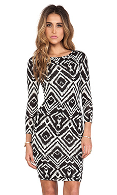 T-Bags LosAngeles Long Sleeve Body Con Dress in Black White Ikat