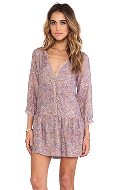 T-Bags LosAngeles Long Sleeve Henley Dress in Mauve Paisley