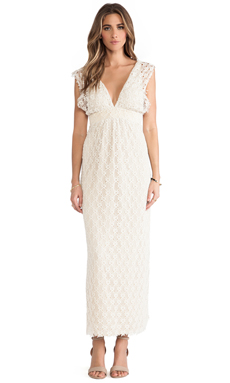 T-Bags LosAngeles V Neck Lace Maxi Dress in Natural