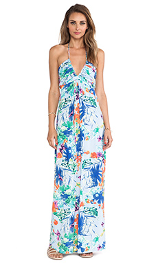 T-Bags LosAngeles Plunging Halter Maxi Dress in Blue Floral